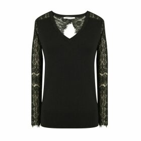 Fine Knit Jumper with Laced Open Back and V-Neck