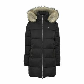 Long Padded Puffer Jacket with Faux Fur Hood