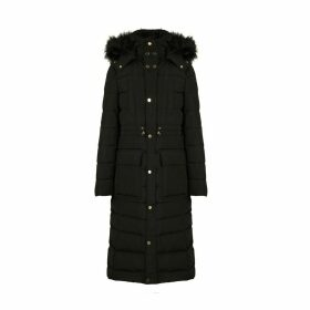 Long Padded Jacket with Faux Fur Hood