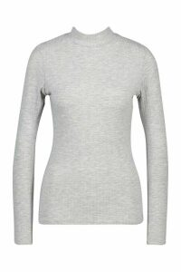 Womens Rib Knit roll/polo neck Jumper - grey - 8, Grey