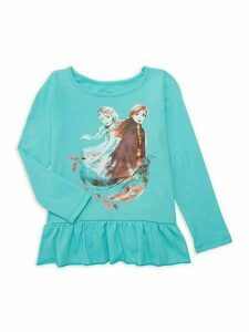 Little Girl's Graphic Elsa & Anna Cotton Long-Sleeve Tee