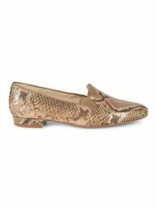 Jordy Embossed Snake-Print Leather Loafers