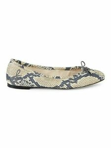 Felicia Snake-Print Leather Ballet Flats