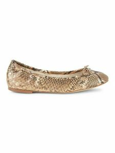 Felicia Embossed Leather Flats