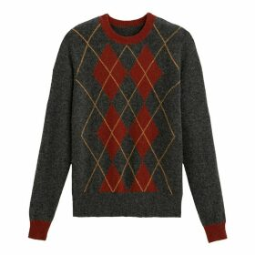 Diamond Jacquard Jumper in Wool Mix with Round Neck