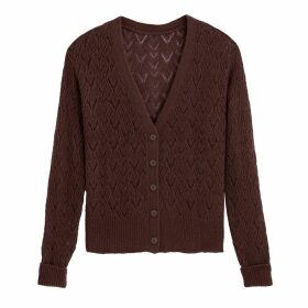 Openwork Knit V-Neck Cardigan