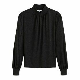 High-Neck T-Shirt with Long Sleeves
