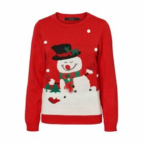 Christmas Snowman Print Jumper with Round Neck