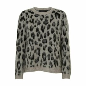 Leopard Print Jumper with Round Neck