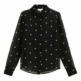 Transparent Star Embroidered Blouse with Long Sleeves