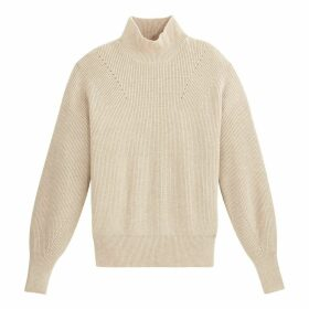 Ribbed Chunky Knit Jumper with High Neck