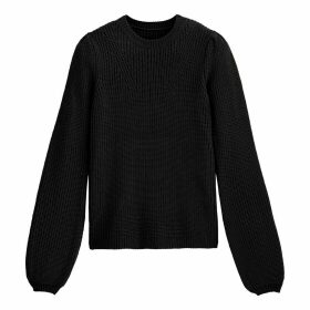 Ribbed Puff Sleeve Jumper with Crew Neck