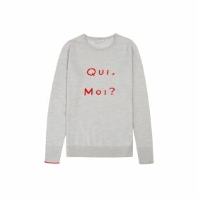 Ille De Cocos Qui Moi Merino Sweater - Pebble Grey- Red