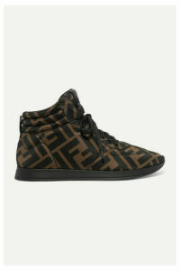 Fendi - Leather-trimmed Logo-print Neoprene Sneakers - Brown