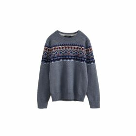 Hackett Fair Isle Wool And Cotton Crew Neck Sweater