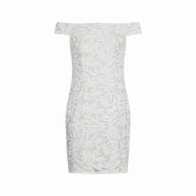 Adrianna Papell Sequin Off-the-shoulder Dress