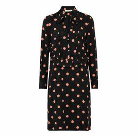 Tory Burch Black Polka-dot Silk Crepe De Chine Dress