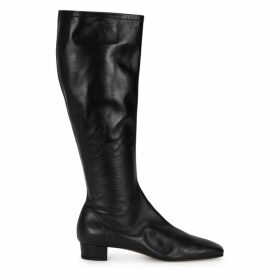 BY FAR Edie 25 Black Leather Knee-high Boots