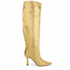 Wandler Lina 95 Gold Leather Knee-high Boots