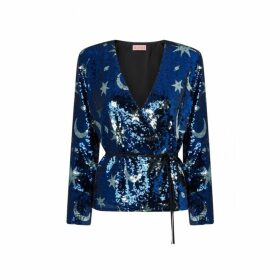 Kitri Carmina Blue Sequin Wrap Top