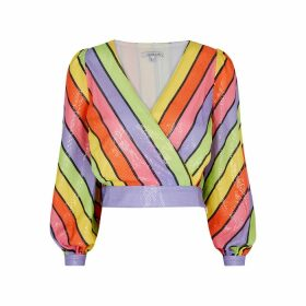 Olivia Rubin Kendall Striped Sequin Top