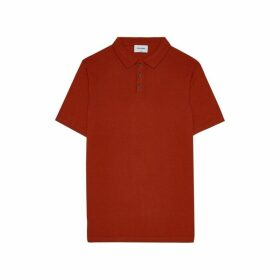 DUCHAMP LONDON Extra Fine Merino Wool Poloshirt Orange