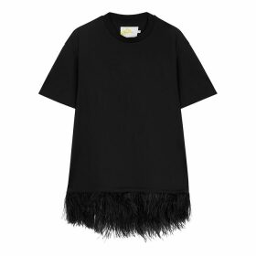 MARQUES' ALMEIDA Black Feather-trimmed Cotton T-shirt