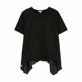 Clu Black Satin-panelled Cotton T-shirt