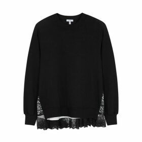 Clu Black Lace-panelled Jersey Sweatshirt