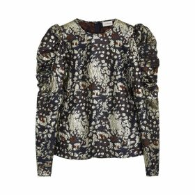BY MALENE BIRGER Claude Leopard Metallic-jacquard Top