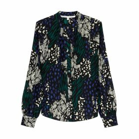 Veronica Beard Buckley Printed Silk Crepe De Chine Blouse