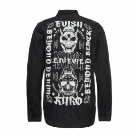 Evisu Black Denim Shirt With Heraldry Print