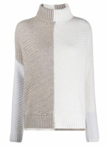 Lorena Antoniazzi two-tone knit jumper - Grey
