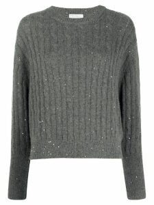 Brunello Cucinelli sequin-embellished cable-knit jumper - Grey