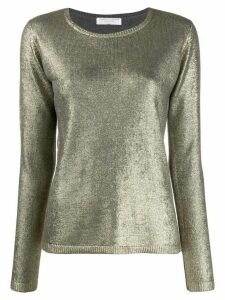 Majestic Filatures metallic long-sleeve sweater - GOLD