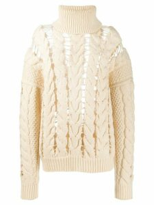 Zilver roll neck cable knit jumper - NEUTRALS