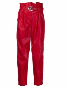 Pinko Carrot-fit faux-leather trousers - Red