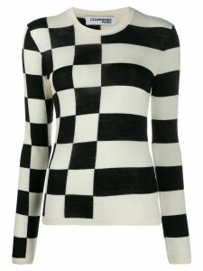 Courrèges asymmetric pattern crew neck jumper - White