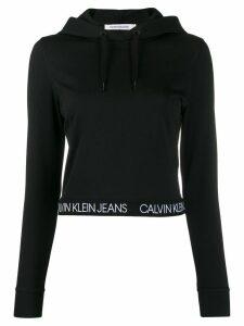 Calvin Klein Jeans branded cropped hoodie - Black
