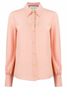 Gucci long-sleeve crêpe de chine shirt - PINK