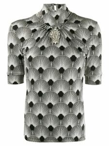 Paco Rabanne fitted brooche detail top - Black