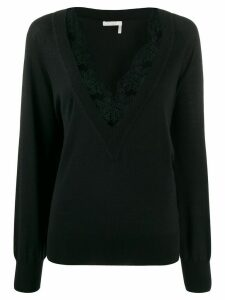 Chloé lace-trimmed jumper - Black