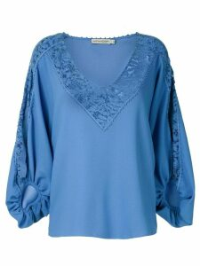 Martha Medeiros Giuliana lace panels blouse - Blue