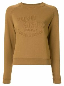 Maison Kitsuné embroidered logo sweatshirt - Brown