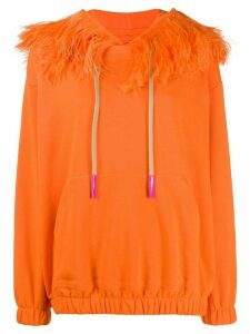 Natasha Zinko drawstring feather trim hoodie - ORANGE