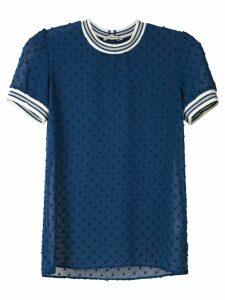 Martha Medeiros Eduarda polka dots textured blouse - Blue