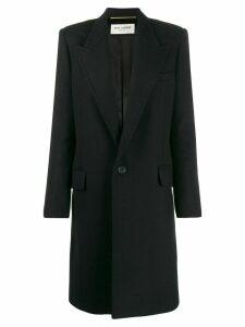 Saint Laurent peaked collar single-breasted coat - Black