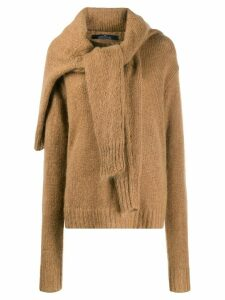 Rokh tie-front knitted jumper - Brown