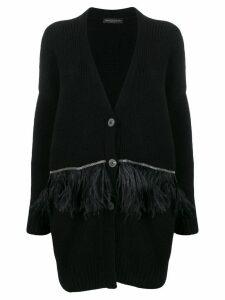 Fabiana Filippi feather-embellished cardi-coat - Black