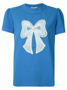 Martha Medeiros Eduarda bow appliqué blouse - Blue